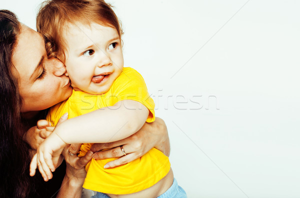 pretty real normal mother with cute blond little daughter close  Stock photo © iordani