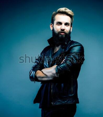 Сток-фото: портрет · молодые · бородатый · парень · улыбаясь