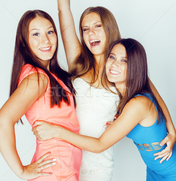 group of many cool modern girls friends in bright clothers together having fun isolated on white bac Stock photo © iordani