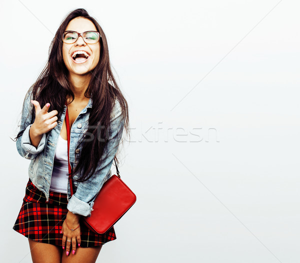 young happy smiling latin american teenage girl emotional posing Stock photo © iordani
