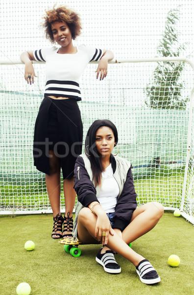 Jonge mooie etniciteit meisjes veld Stockfoto © iordani