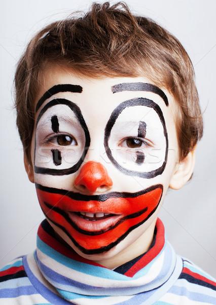 Pequeno bonitinho menino como palhaço expressões Foto stock © iordani