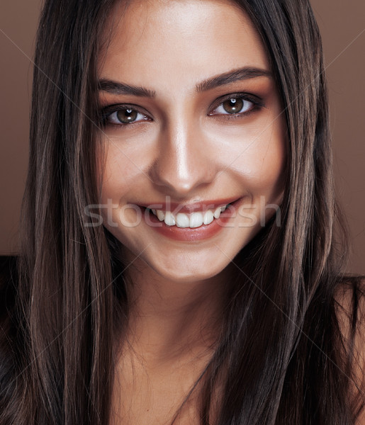 cute happy young indian real woman in studio close up smiling, fashion mulatto Stock photo © iordani