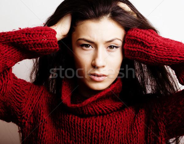 Genç güzel kadın kazak eşarp tüm yüz Stok fotoğraf © iordani