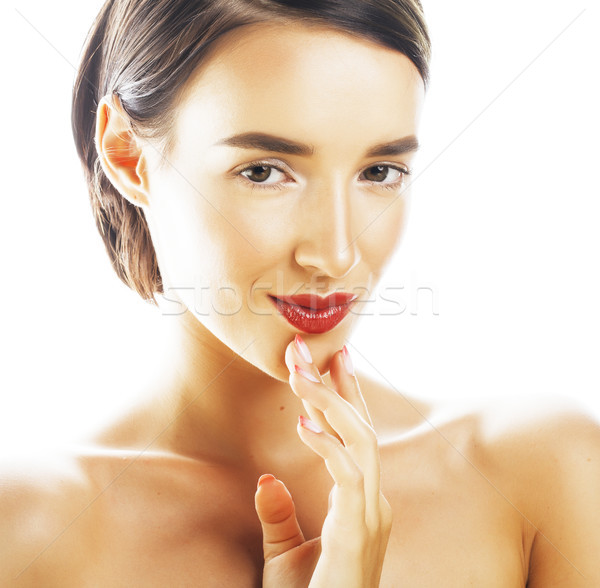 young brunette woman with hands on face isolated white background close up spa Stock photo © iordani