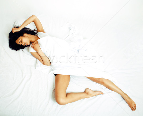 pretty brunette woman in bed, cant sleep Stock photo © iordani