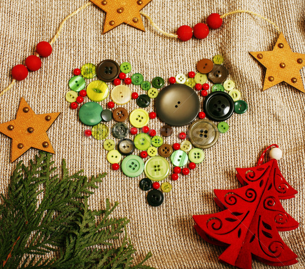 christmas card wooden vintage with handmade gifts, toys, cookie, Stock photo © iordani