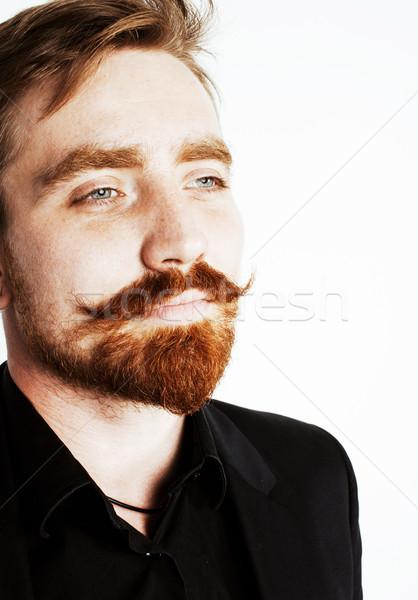 молодые человека борода усы черный костюм Сток-фото © iordani