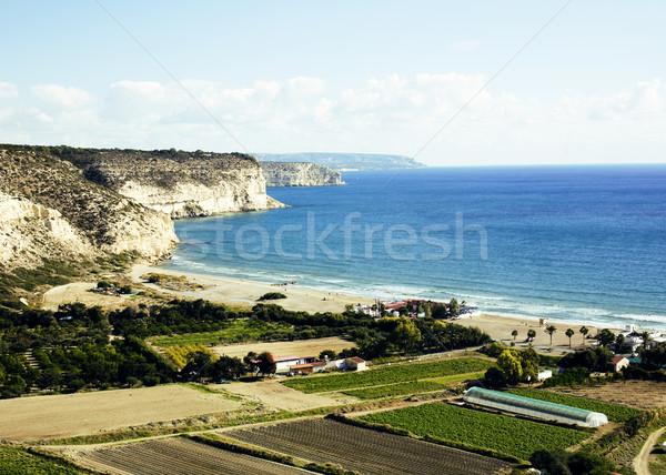 Güney maliyet Kıbrıs yeşil bahçeler gökyüzü Stok fotoğraf © iordani