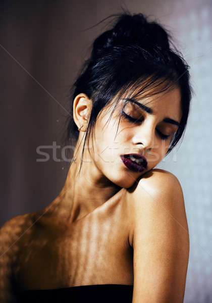 beauty latin young woman in depression, hopelessness look, fashion makeup modern Stock photo © iordani