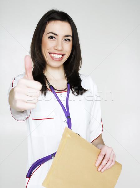 Stockfoto: Jonge · mooie · vrouw · arts · stethoscoop · poseren