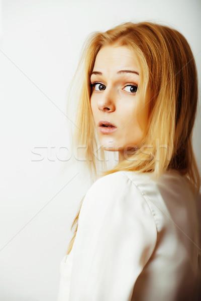 Jeunes blond femme blanche geste Photo stock © iordani