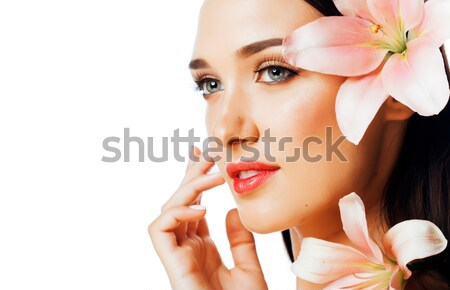 小さな かなり ブルネット 女性 赤 花 ストックフォト © iordani
