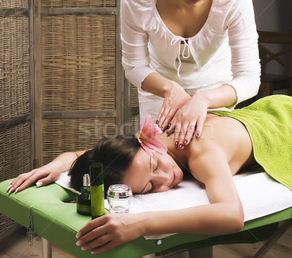 Voorraad foto aantrekkelijk dame spa-behandeling salon Stockfoto © iordani