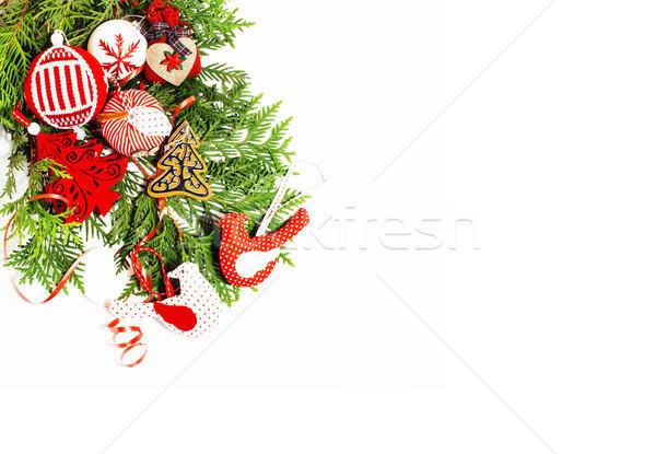Сток-фото: Рождества · украшение · изолированный · белый · пост · карт