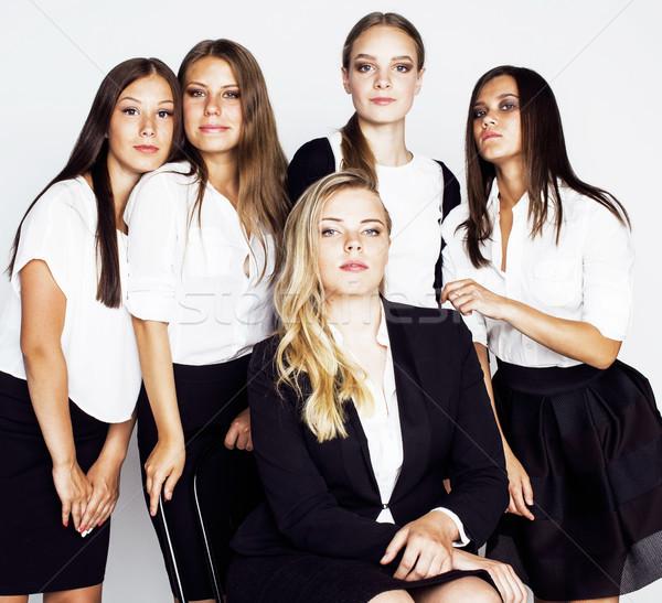 Kobiet zespołu mówić gest Zdjęcia stock © iordani