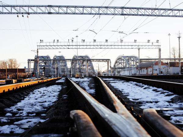 Paysage chemin de fer trains acier coucher du soleil Photo stock © iordani
