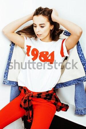 Jóvenes feliz sonriendo americano Foto stock © iordani