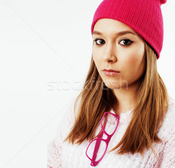 Stock photo: young pretty teenage hipster girl posing emotional happy smiling on white background, lifestyle peop