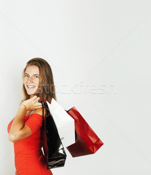 Jeunes modernes blond femme sacs Photo stock © iordani