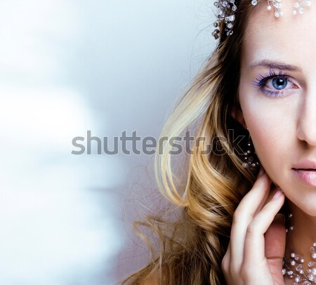 young pretty blond woman in luxury jewelry, lifestyle rich people concept closeup Stock photo © iordani