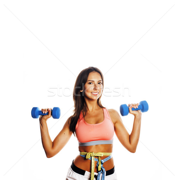 Stock photo: young pretty slim woman with dumbbell isolated