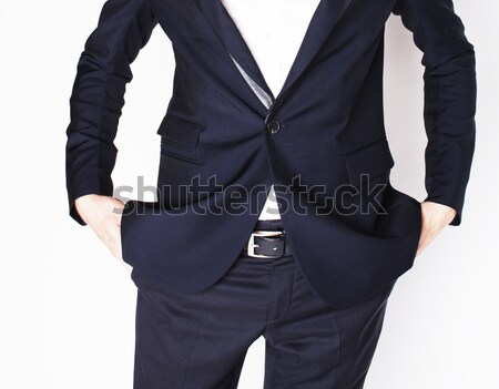 part of body businessman isolated on white background, hands in pockets no money concept, modern wor Stock photo © iordani