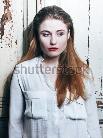 Portre genç kız bakıyor kötü gibi Stok fotoğraf © iordani