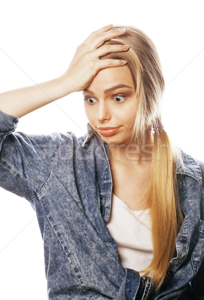 young blond woman on white backgroung gesture thumbs up, isolate Stock photo © iordani