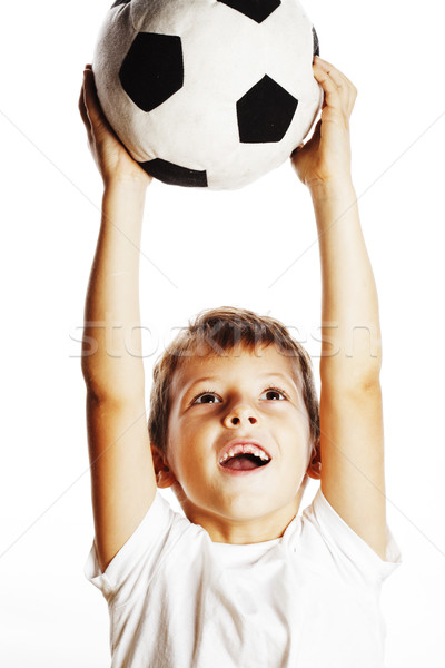 Küçük sevimli erkek oynama futbol top Stok fotoğraf © iordani