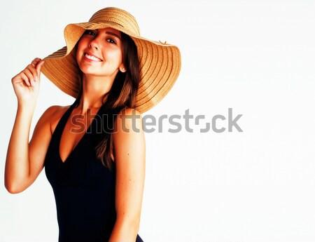 Stockfoto: Jonge · mooie · brunette · vrouw · zomer