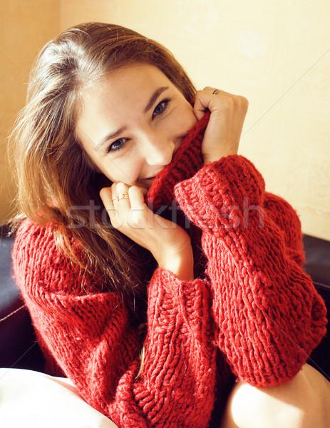 Fiatal csinos igazi nő pulóver sál Stock fotó © iordani