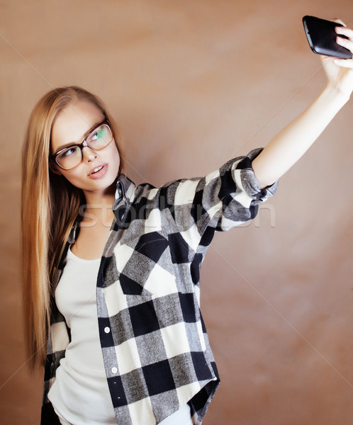 young happy smiling hipster blond girl with backpack ready to sc Stock photo © iordani