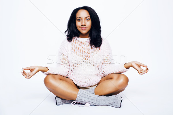 young pretty african american woman pregnant happy smiling, posing on white background isolated , li Stock photo © iordani