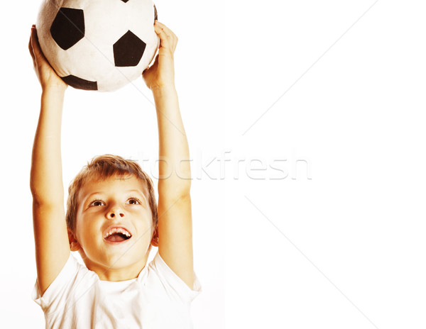 little cute boy playing football ball isolated on white close up Stock photo © iordani
