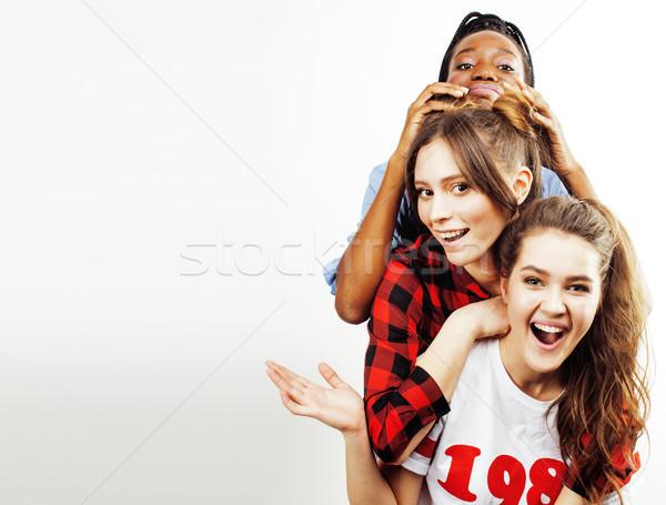 diverse multi nation girls group, teenage friends company cheerful having fun, happy smiling, cute p Stock photo © iordani
