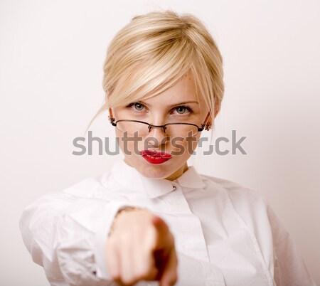 Işkadını gözlük sarışın saç beyaz Stok fotoğraf © iordani