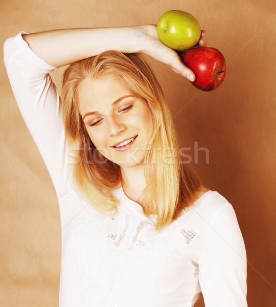 Stock foto: Jungen · ziemlich · blond · Frau · Auswahl · rot