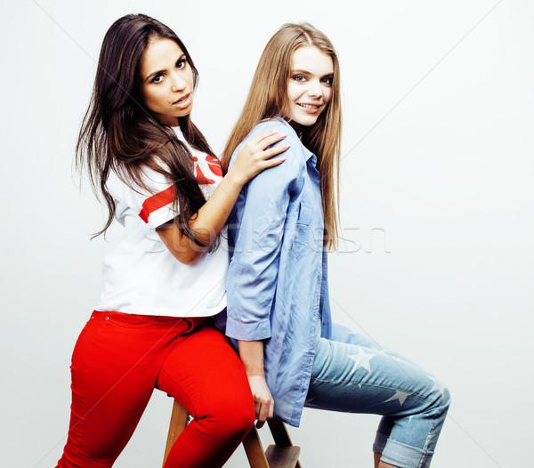 Mejores amigos junto posando Foto stock © iordani