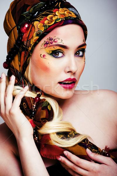 Portré kortárs arc művészet kreatív zárt Stock fotó © iordani