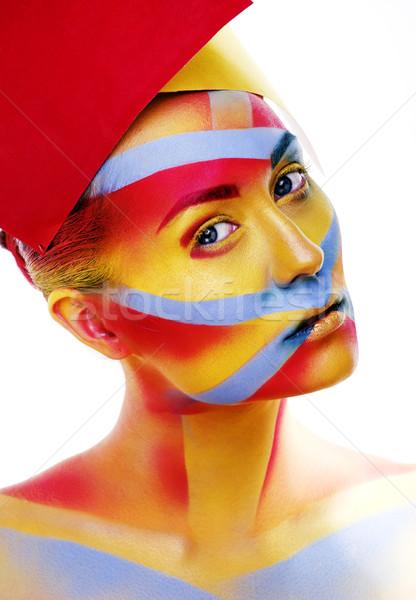 woman with creative geometry make up, red, yellow, blue closeup  Stock photo © iordani
