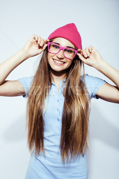 110d2f87c95 young pretty stylish hipster girl posing emotional isolated on white  background happy smiling cool s Stock