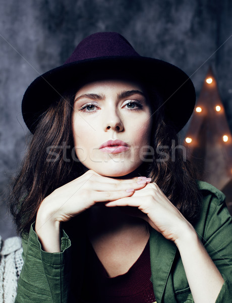 young pretty woman waiting alone in modern loft studio, hipster modern girl, fashion musician concep Stock photo © iordani