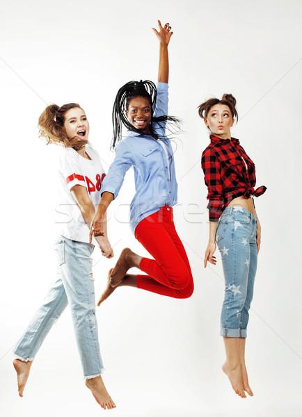 diverse nation girls group, teenage friends company cheerful having fun, happy smiling, cute posing  Stock photo © iordani