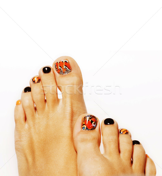 pedicure with butterfly design isolated on white Stock photo © iordani