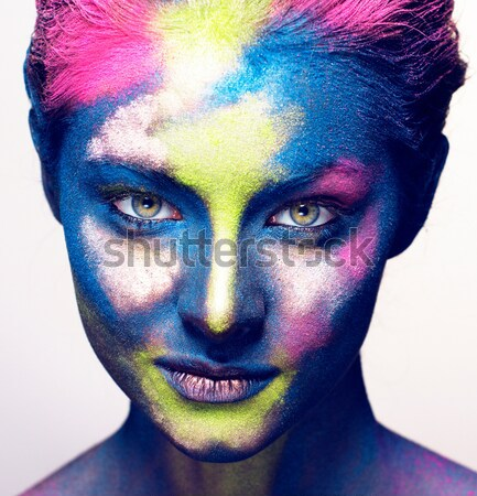 young woman with creative make up like painted oil picture on fa Stock photo © iordani