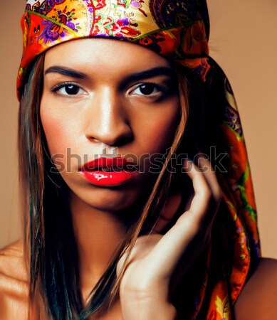 beauty bright african woman with creative make up, shawl on head like cubian Stock photo © iordani