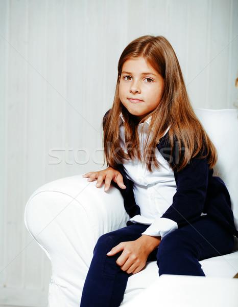 ストックフォト: かわいい · ブルネット · 少女 · ホーム · インテリア