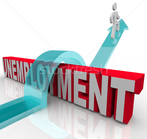 Man Rises Over Unemployment Word on Arrow of Recovery Stock photo © iqoncept