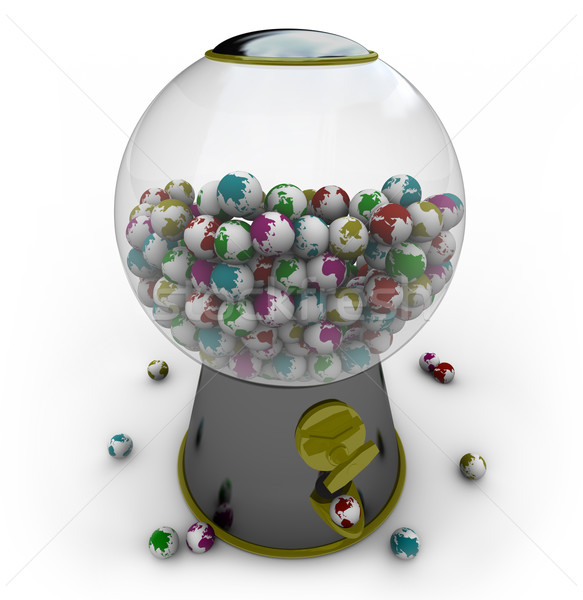 Gumball Machine Filled with Small Earths Stock photo © iqoncept